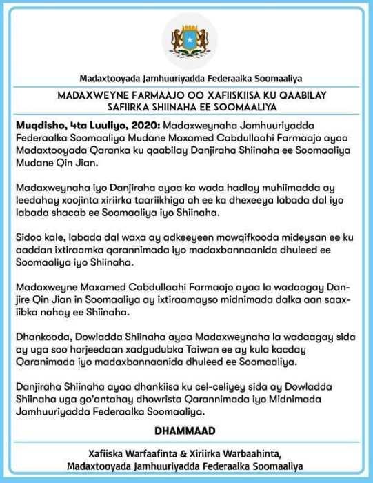 WARKA MADAXTOOYADA SOMALIA KA SOO SAARTAY KULANKA SAFIIRKA SHIINAHA IYO MADAXWEYNE FARMAAJO 2020