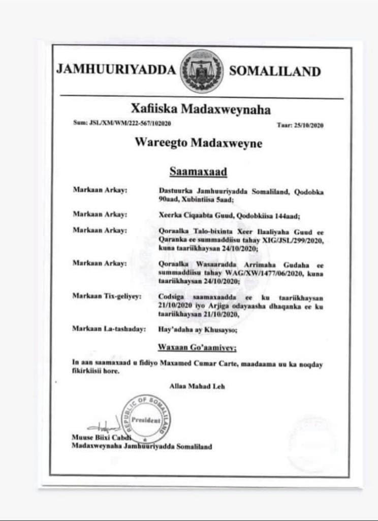 cafiska Madaxweyne Biixi u fidiyey Madaxweyna cumr cARTE 2020