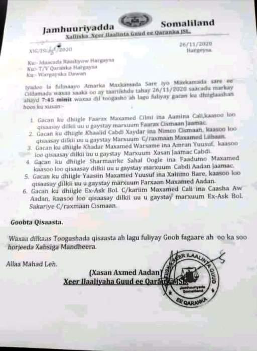 DIL QISAAS AH OO SOMALILAND KU FULISAY 6 MAXBUUS NOVEMBER 2020