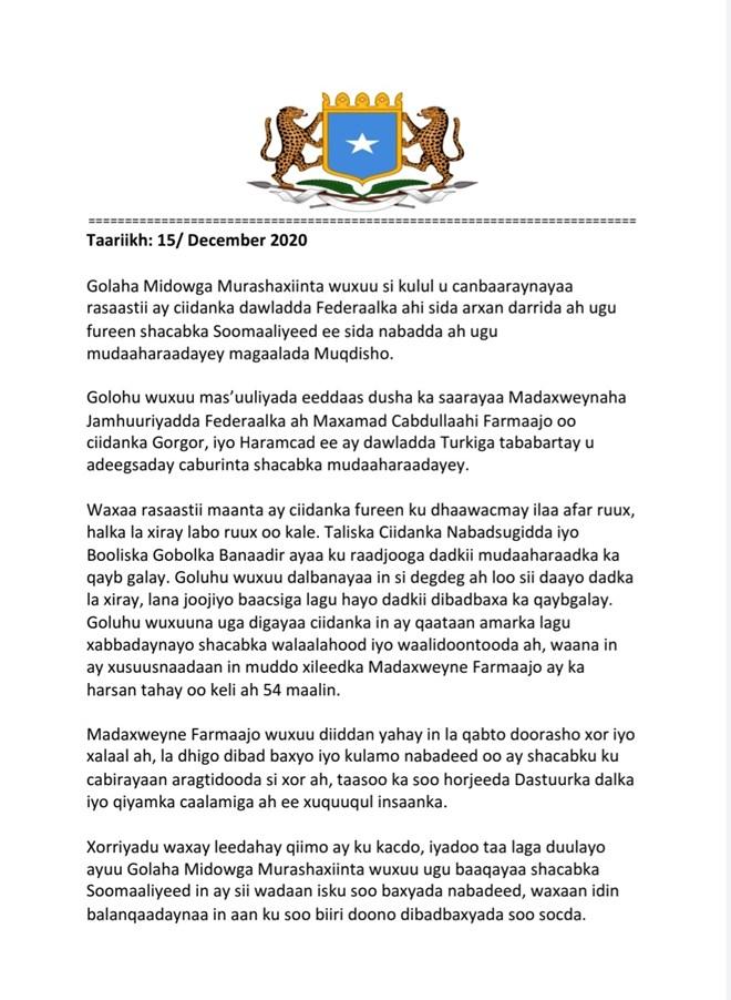 MIDAWGA MUSHARRIXIINTA SOOMAALIYA OO KA HADLAY MUDDAHARAADKA 2020
