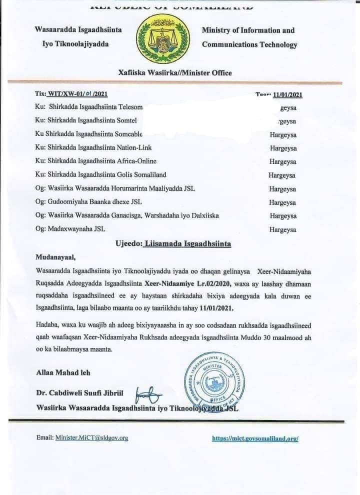 SHIRKADAHA ISGAADHSIINTA SOMALILAND OO RUQSADOHOODA LA LAALAY 2021