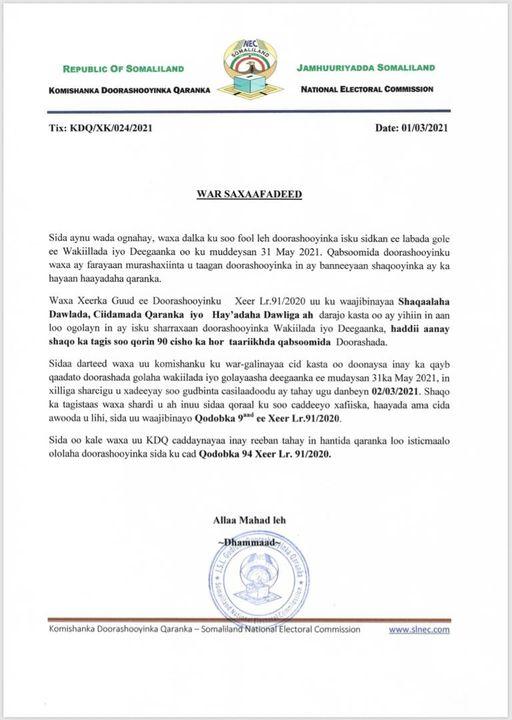 AMARKA MUSHARRIXIINTA EE GUDDIGA DOORASHOOYINKA SOMALILAND 2021