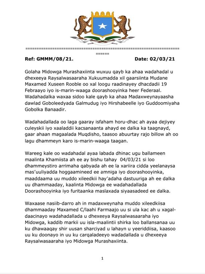 MIDAWGA MUSHARRIXIINTA SOMALIA 2021