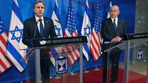 Antony Blinken iyo Benjamin Netanyahu